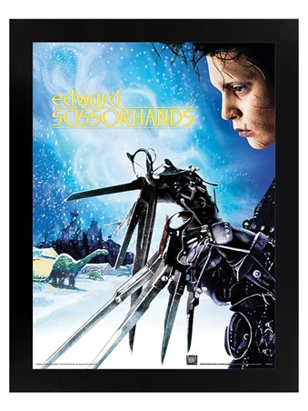 Black Wooden Framed Snowfall - Edward Scissorhands