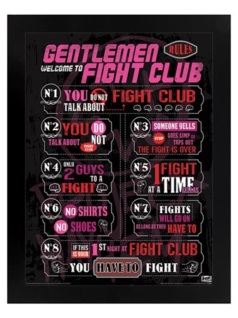 Black Wooden Framed The Rules - Fight Club