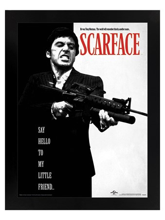 Black Wooden Framed Say Hello To My Little Friend - Scarface