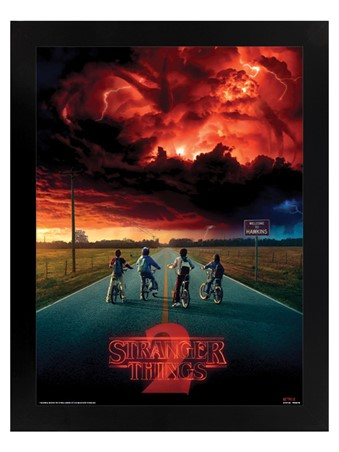 Black Wooden Framed Mind Flayer - Stranger Things