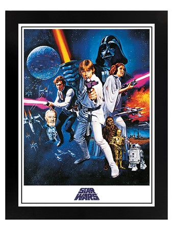 Black Wooden Framed A New Hope One Sheet - Star Wars