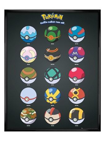 Gloss Black Framed Pokeballs - Pokemon