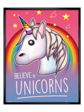 Gloss Black Framed Rainbow Magic - I Believe In Unicorns