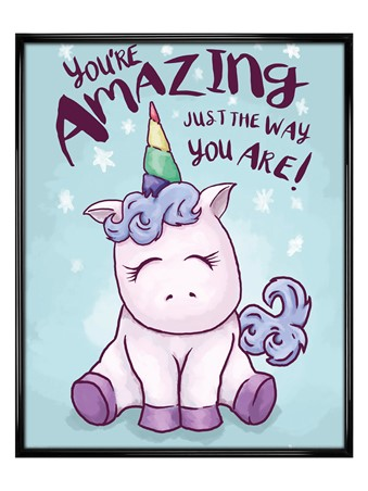 Gloss Black Framed You're Amazing - Unicorn