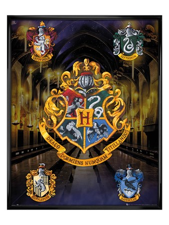 Gloss Black Framed House Crests - Harry Potter