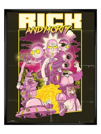 Gloss Black Framed Action Movie - Rick and Morty