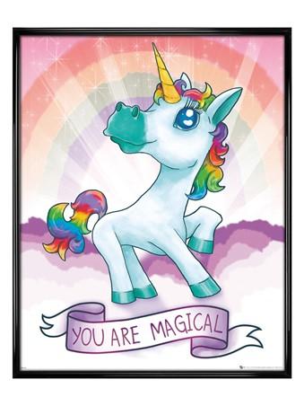 Gloss Black Framed Unicorn Magical - Rainbow Dream