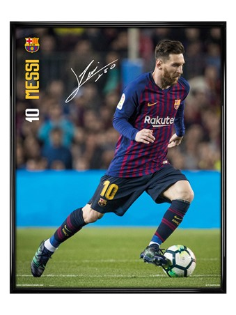 Gloss Black Framed Messi 18-19 - Barcelona FC