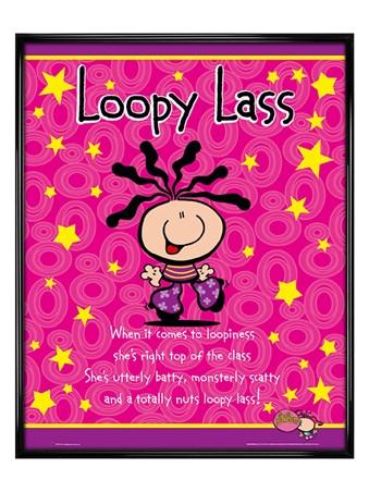 Gloss Black Framed Loopy Lass - Bubblegum