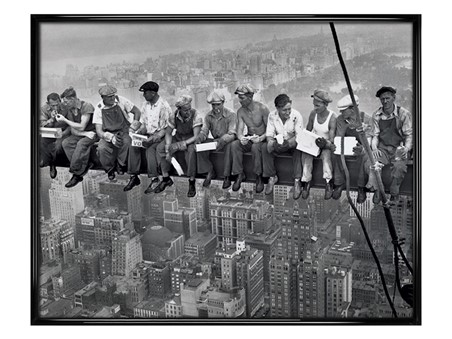 Gloss Black Framed Lunch on a Skyscraper - Iconic New York