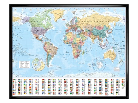 Gloss Black Framed World Map with Flags - Educational