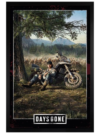 Black Wooden Framed Key Art Cover - Days Gone