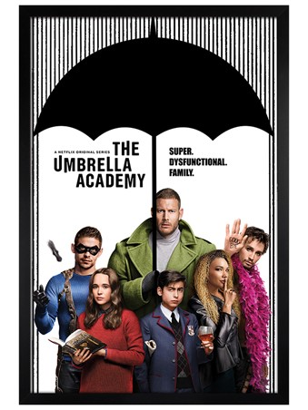 Black Wooden Framed Super Dysfunctional Family - The Umbrella Academy