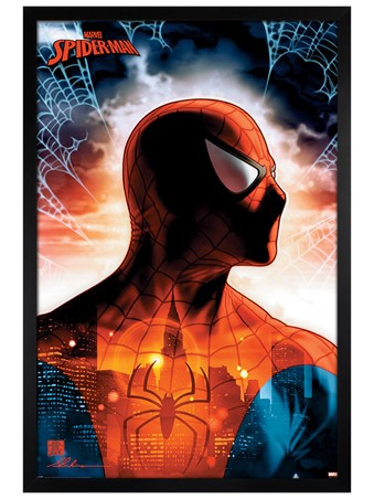 Black Wooden Framed Protector Of The City - Spider-Man