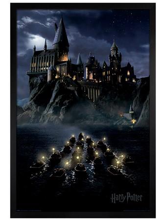 Black Wooden Framed Hogwarts Boats - Harry Potter