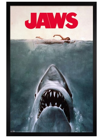 Black Wooden Framed Jaws Framed Poster