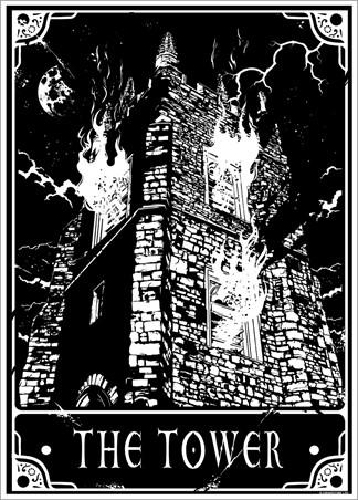 Deadly Tarot The Tower Mini Poster 32 x 44cm