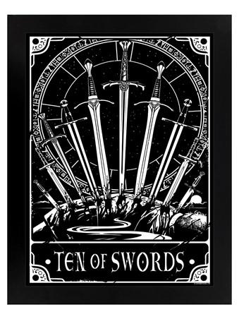 Black Wooden Framed Ten Of Swords - Deadly Tarot