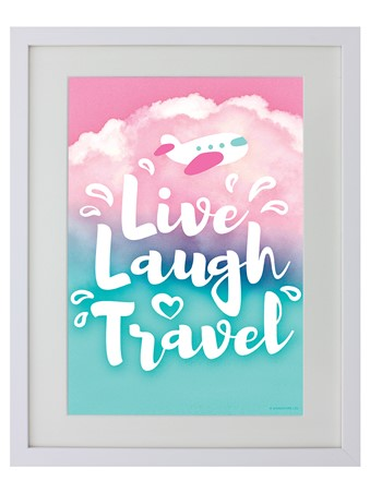 White Wooden Framed Live Laugh Travel - New Adventure