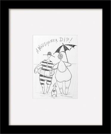 Black Wooden Framed A Midsummer Dip Sketch - Sam Toft