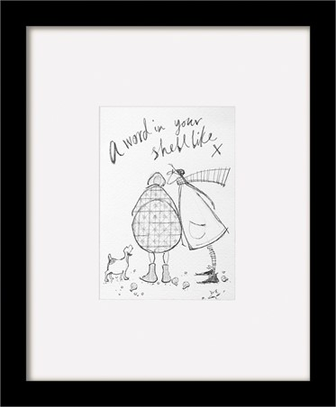 Wooden Framed Poster A Word In Your Shell Like Sketch - Sam Toft