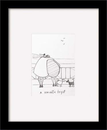 Black Wooden Framed A Romantic Tryst sketch - Sam Toft
