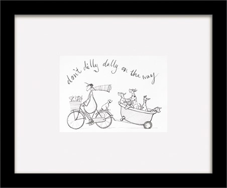 Black Wooden Framed Don't Dilly Dally sketch - Sam Toft