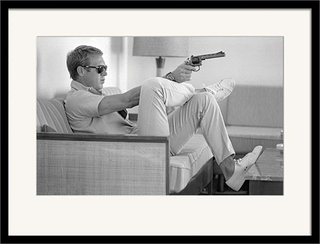 Black Wooden Framed Steve McQueen - Takes Aim - Time Life