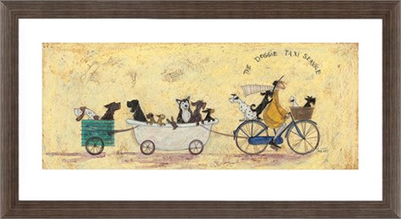 Brown Wooden Framed The Doggie Taxi Service - Sam Toft