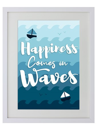 White Wooden Framed Happiness Comes In Waves - Sea Joy