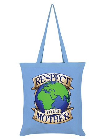 Respect Your Mother Earth Sky Blue Tote Bag -