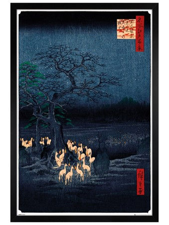 Black Wooden Framed New Years Eve Foxfire - Hiroshige