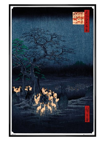 Gloss Black Framed New Years Eve Foxfire - Hiroshige