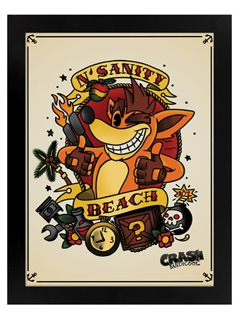 Black Wooden Framed N.Sanity Beach - Crash Team Racing