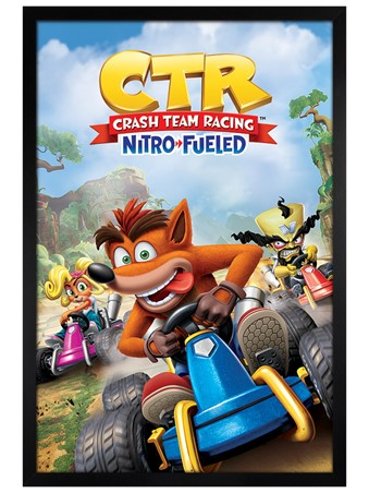Black Wooden Framed Crash Team Racing Race - Crash Bandicoot