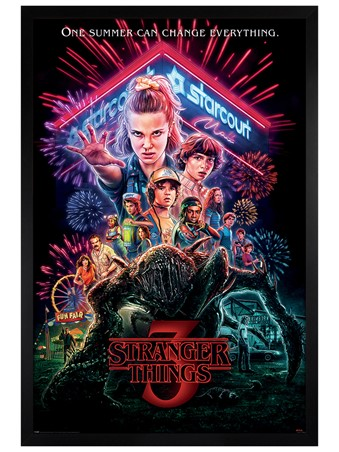 Black Wooden Framed Summer of 85 - Stranger Things