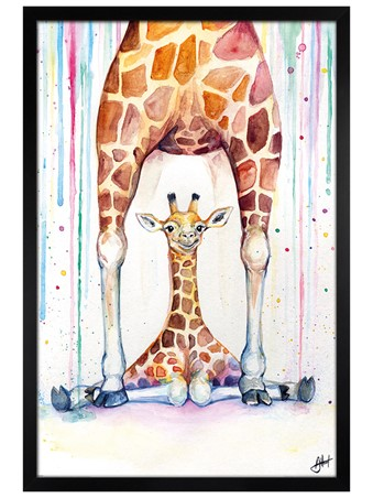 Black Wooden Framed Gorgeous Giraffes - Marc Allante