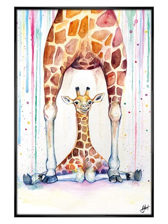 Gloss Black Framed Gorgeous Giraffes - Marc Allante
