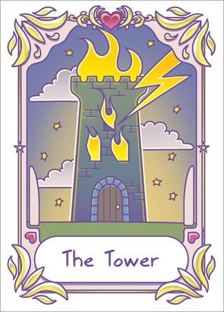 The Tower - Deadly Tarot Kawaii