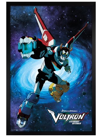 Black Wooden Framed Legendary Defender - Voltron