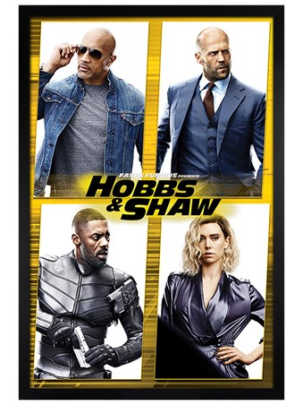 Black Wooden Framed Hobbs & Shaw - Fast & Furious