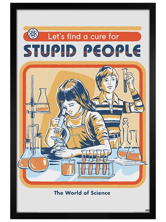 Black Wooden Framed Let's Find A Cure For Stupid People Framed Poster