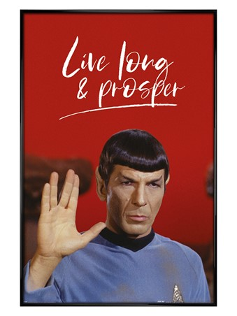 Gloss Black Framed Live Long and Prosper - Star Trek