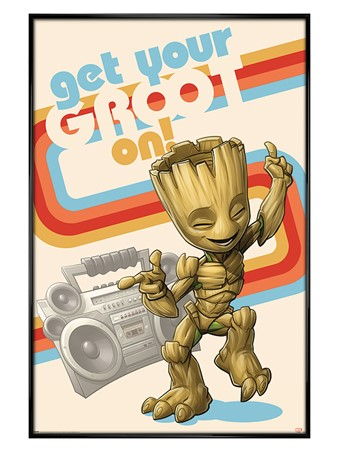 Gloss Black Framed Get Your Groot On - Guardians Of The Galaxy
