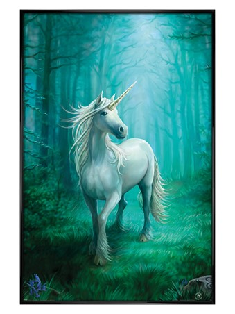 Gloss Black Framed Forest Unicorn - Anne Stokes
