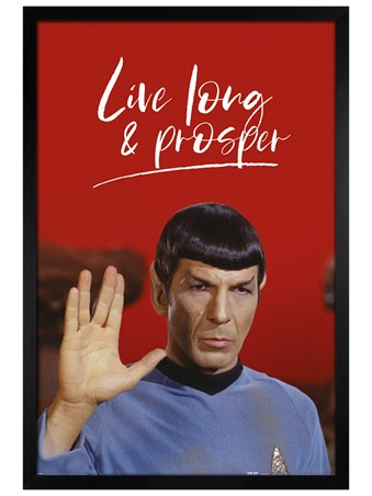Black Wooden Framed Live Long and Prosper - Star Trek