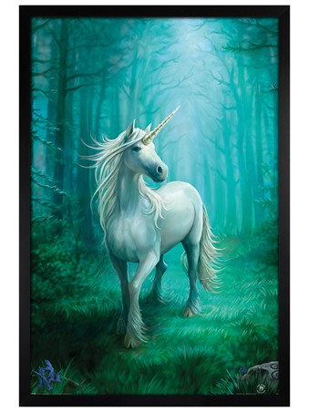 Black Wooden Framed Forest Unicorn - Anne Stokes