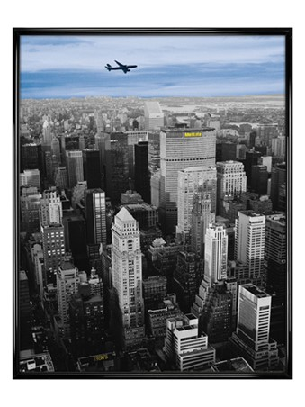 Gloss Black Framed Flying High above The MetLife Building - New York