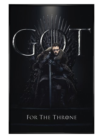 Gloss Black Framed Jon For The Throne - Game Of Thrones