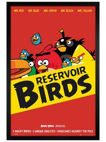 Black Wooden Framed Reservoir Birds - Angry Birds